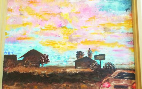 """Julia Harrington's painting """"Sunset Road"""" was part of the 2017 student art exhibit at Center for Arts and History in Lewiston."""
