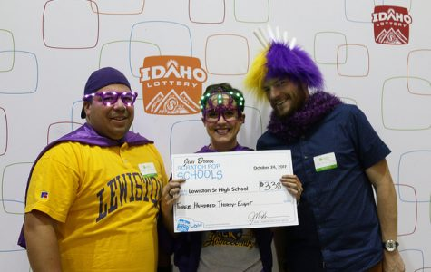 Left to right: Teachers Ricky Guzman, Kristin Delp and Matt Dabbs with their school winnings from the Idaho Lottery.