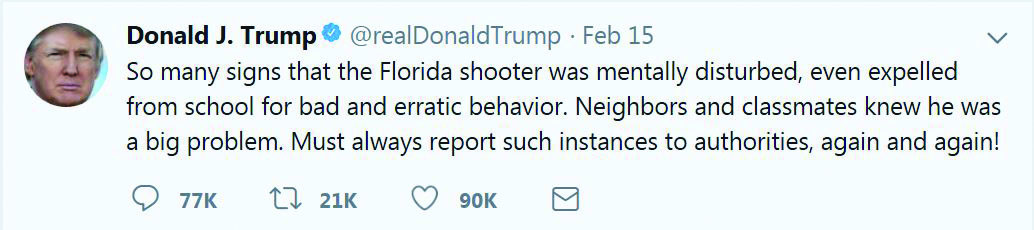 President Trump turned to Twitter Feb. 15, to offer explanation for a recent shooting. Image courtesy of twitter.com.