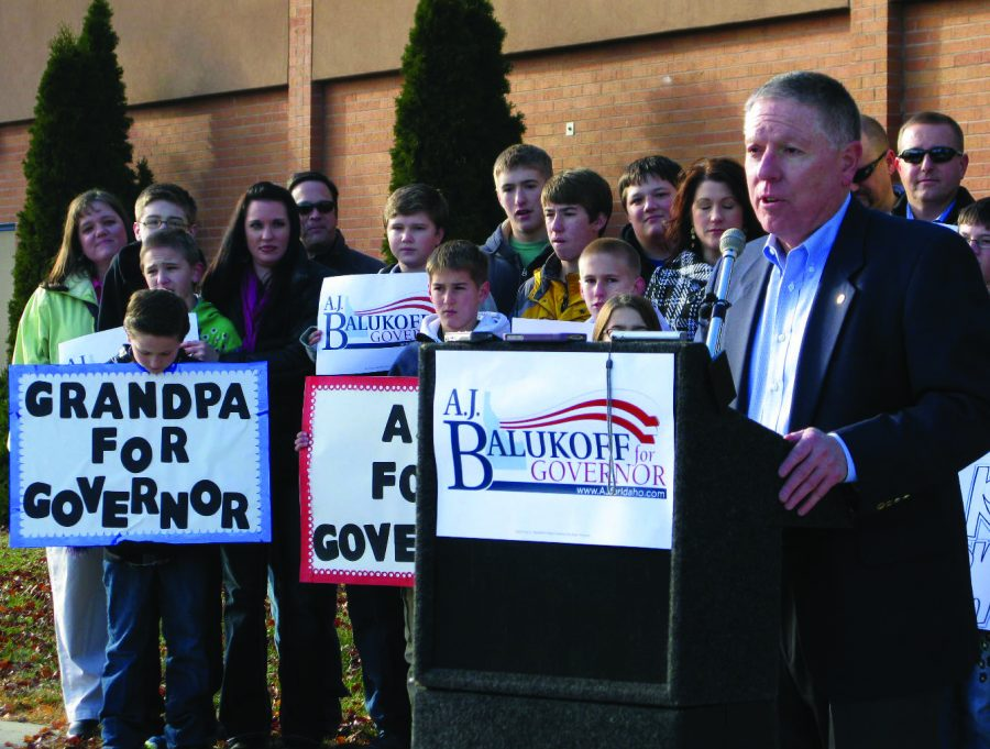 A.J. Balukoff campaigns for Idaho governor.