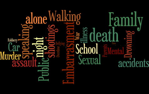 Approximately 200 students participated in a survey to express what fears they face today. The wordcloud above expresses the most common responses. Word cloud compiled by Josie Hafer.