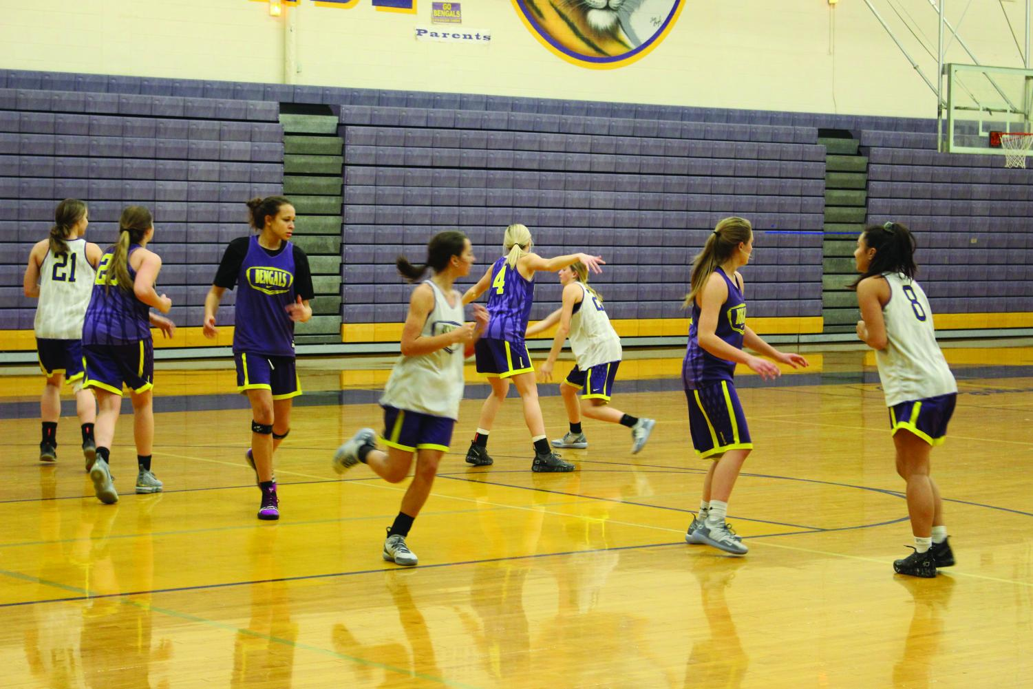 LHS varsity girls work hard at practice Dec. 7, prepping for their game against Pendleton.