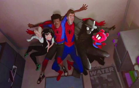 Spider-men from different dimensions hide on the ceiling. Photo courtesy IMDB.com