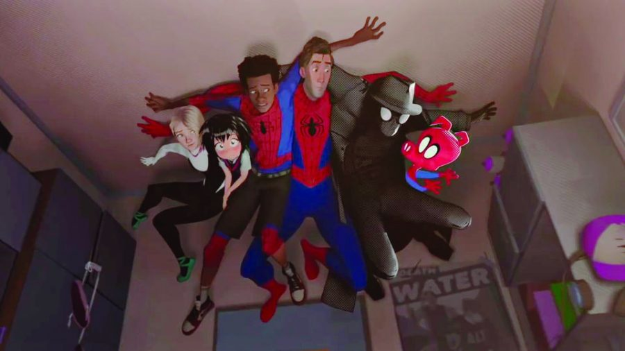 Spider-men+from+different+dimensions+hide+on+the+ceiling.+Photo+courtesy+IMDB.com