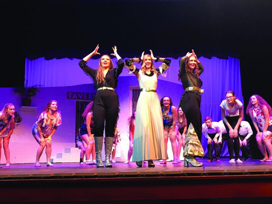 Clarkston+High+School+actors+perform+in+%22Mamma+Mia.%22+From+Left+to+Right%3A+Molly+Williams%2C+Keely+Burnes%2C+Abby+Vance.+