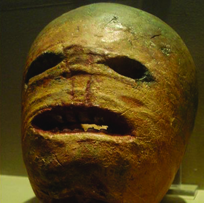 A carved turnip for Halloween.