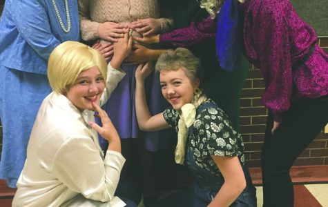 The cast of Steel Magnolias shares a touching moment after a show. Photo courtesy of LHS Drama.