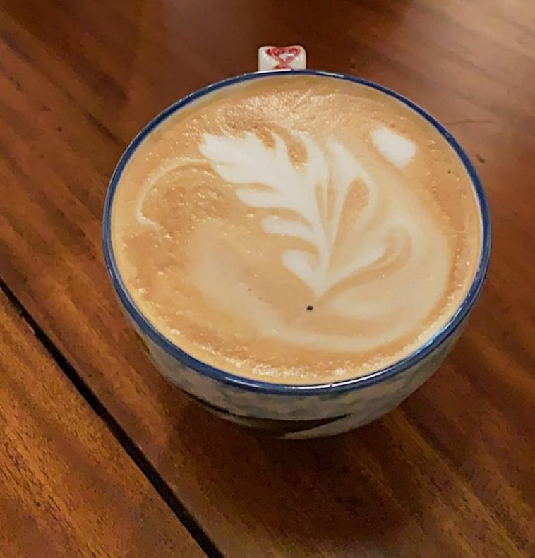 Vanilla latte from the Blue Lantern Cafe. Photo by Sophie Hunter.