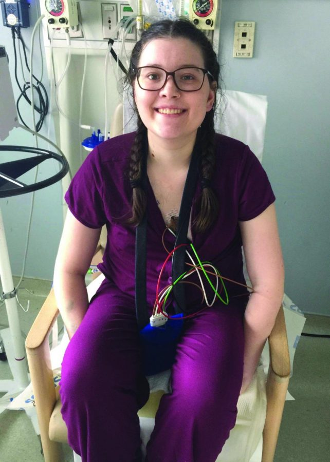 Erika+Pepper+sits+in+her+hospital+room+after+months+of+recovery+from+a+lung+transplant.+