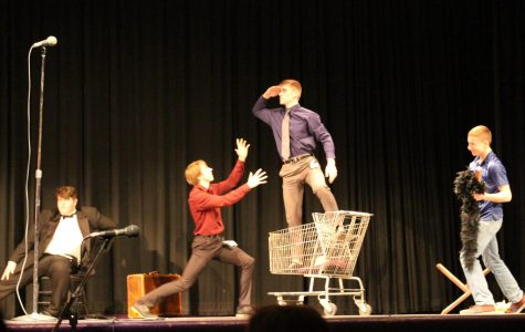 Henry Pals stands above his competition during Mr. LHS on Nov. 21. Photo by Jazmyne Hartogh.