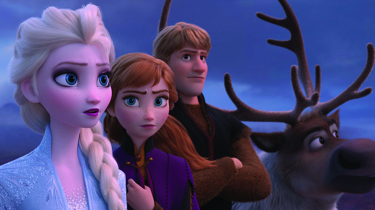 Elsa, Anna, Kristoff, and Sven gather together to plan their journey. Image courtesy of Disney.com.