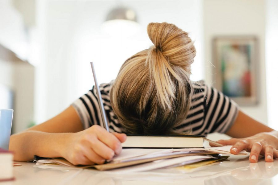 A student sits face down in her books, working hard. Photo courtesy of medibank.com