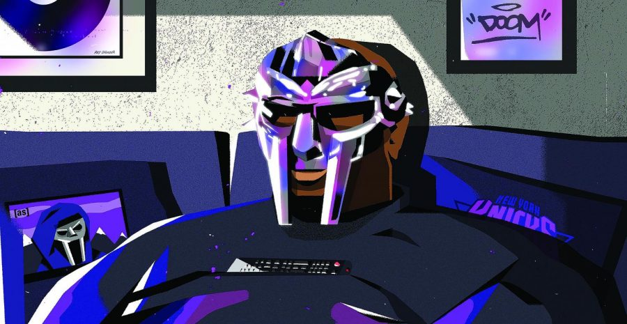 The death of MF DOOM, illustrated here, was announced this winter. Image courtesy of Adult Swim.