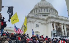 A crowd gathers in front of the U.S. Capitol building Jan. 6 in Washington, D.C. Photo by Nina Linder.