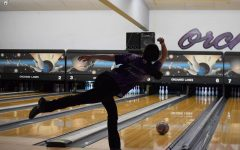 Junior Brianna Blamires rolls a ball down Lane 6 for a strike at the Top Dog Tournament Feb. 13 at Orchards Lanes here in Lewiston. Photo courtesy of Mindy Pals.