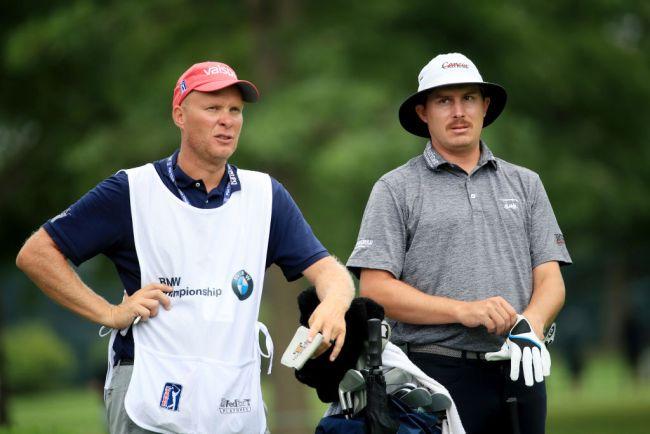 Geno Bonnalie and Joel Dahmen strategize on the golf course. Photo courtesy of Golf Digest.